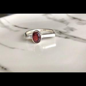Ring Natural Faceted Garnet & Sterling Silver